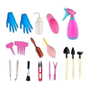 asayu 20pcs Mini jardín herramientas de mano herramientas de trasplante herramientas suculentas miniatura plantación jardinería juego de herramientas para (rosa)