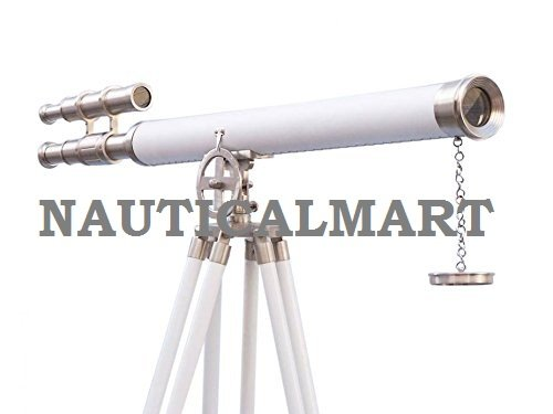 NAUTICALMART 64' Floor Standing Brushed Nickel With White Leather Griffith Astro Double Barrel Telescope With Tripod Stand NauticalMart Inc