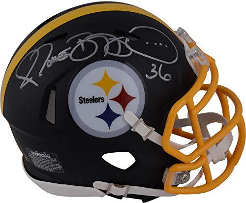 Helmet Autographed Pittsburgh Authentic Steelers - Jerome Bettis Pittsburgh Steelers Autographed Riddell Black Matte Alternate Speed Mini Helmet - Fanatics Authentic Certified