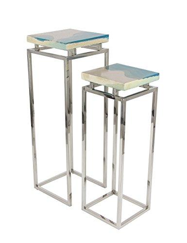 Deco 79 42070 Square Stainless Steel and Stoneware Pedestals, Silver/Blue/White - Stoneware Pedestal