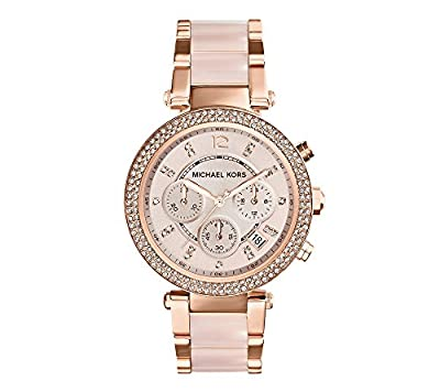 Michael Kors Mid-Size Rose Goldtone and Stainless Steel Parker Three-Hand Glitz Watch by Michael Kors