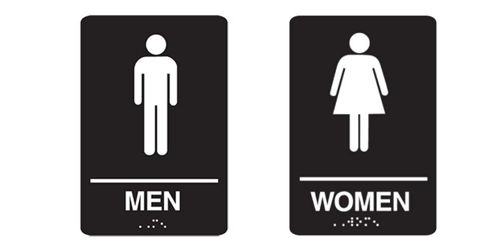 """""""Men"""" & """"Women"""" Restrooms Sign Set with Braille, Toilet Door Plate for Business Restaurant, 6"""" x 9"""""""