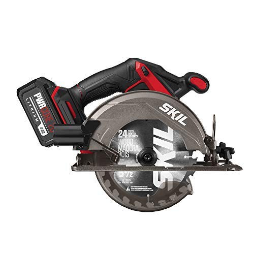 SKIL PWRCore 20 Brushless 20V 6-1/2 Inch Circular Saw, Includes 4.0Ah Lithium Battery and PWRJump Charger – CR541302