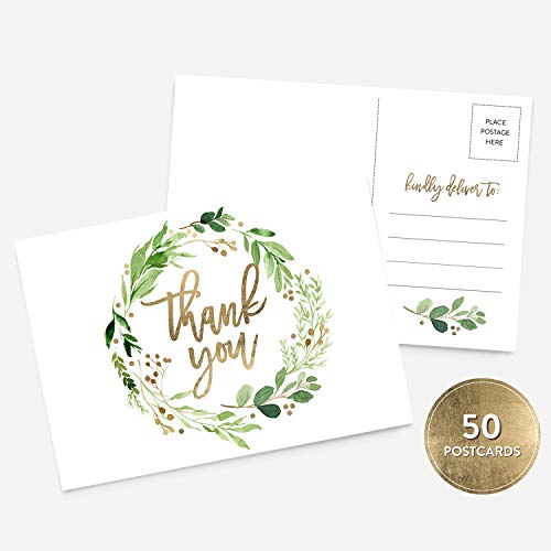 50 4x6 Botanical and Gold Thank You Postcards Bulk Set, Floral Wreath Calligraphy Note Card Stationery Set, Blank Thank You Note Card Wedding, Bridesmaid, Bridal or Baby Shower, Teachers, Business ()
