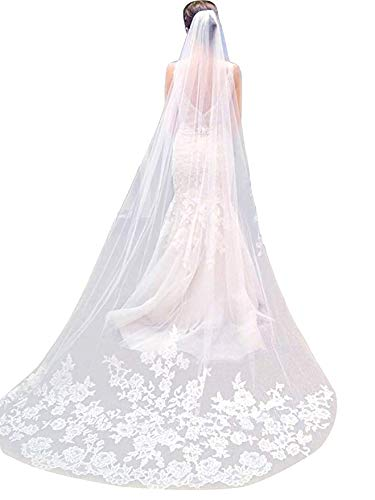 Single Layer Wedding Veil Lianshi Bridal Veil Lace Embroidery Bride Supplies  (off White)