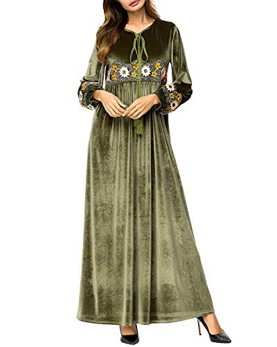 Ricamato Patchwork Dress Army Lunghe Ankle Green Maniche Da length Muslim Donna Large Zebuakuade In Velluto Verde Style Green A 8p0RSqnS