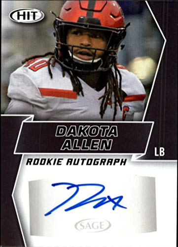 2019 SAGE Hit Premier Draft (NFL) Football BLACK Autograph #A53 Dakota Allen Auto Texas Tech Los Angeles Rams Official Player Licensed Rookie RC Trading Card