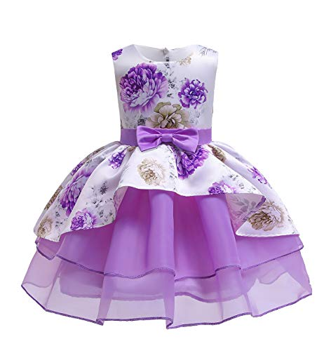 Gajaous Little Girls Pageant Princess Dress Toddler Girld Flower Printed Sleeveless Bowknot Ruffled Tutu Party Formal Dresses Purple -