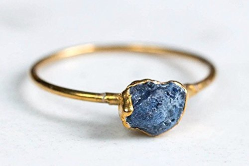 Raw Sapphire Ring, Size 6, September Birthstone,14k Gold Filled