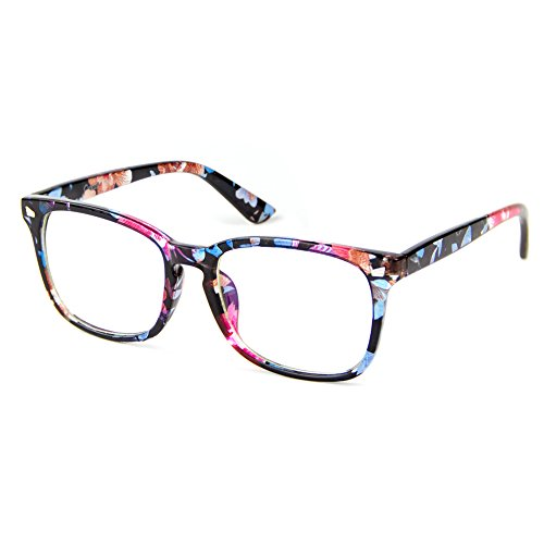 Cyxus Anti Blue Light [Transparent Lens] Glasses, Anti Eyestrain Headaches Better Sleep Eyewear (Floral Print - Eyewear Frame Repair