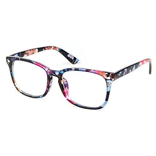 Cyxus Anti Blue Light [Transparent Lens] Glasses, Anti Eyestrain Headaches Better Sleep Eyewear (Floral Print - Repair Frame Eyewear