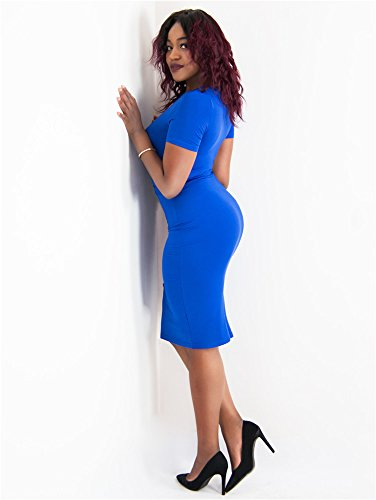 Short Dress 2 Bodycon Summer Outfits Pencil Blue Sleeve Piece Womens GOBLES Royal Midi xqU4Bw6Y