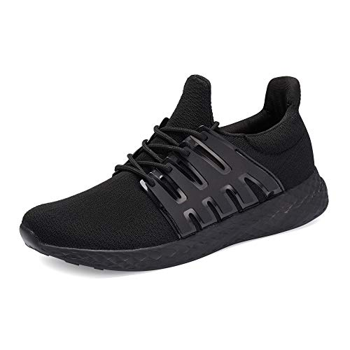 WXQ Men's Running Shoes Fashion Breathable Sneakers Mesh Soft Sole Casual Athletic Lightweight Walking Shoes All Black 44