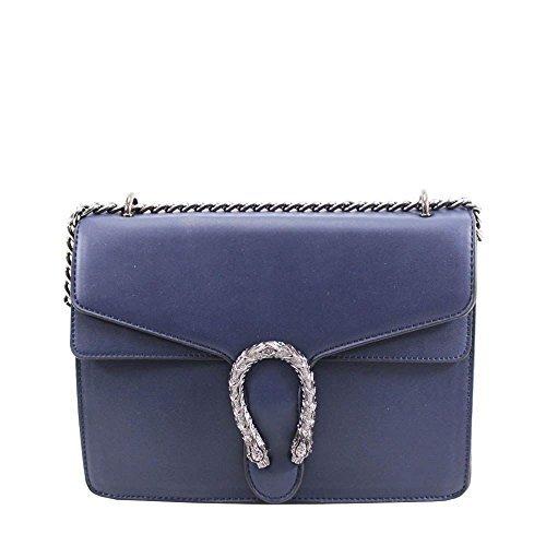 Navy Leather Bag Horseshoe Faux Shoulder Fashion Ladies Detail Chain Strap qfHzgWxwA5