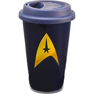 Vandor 80351 Star Trek 12 oz Double Wall Ceramic Travel Mug with Silicone Lid, Blue and Yellow