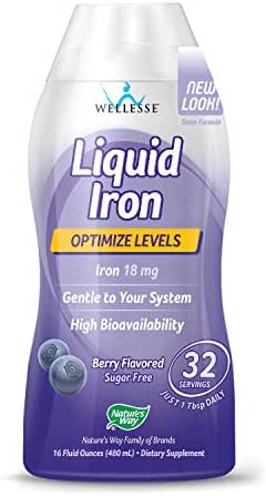 WELLESSE Liquid Mineral Supplement, Iron, Natural Berry,  16 Ounce