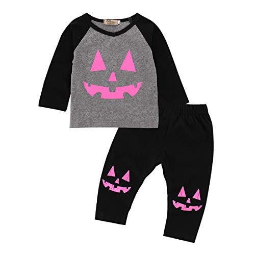 Toddler Infant Baby Girl Pumpkin Patch Monster T-Shirt Top Pants Halloween Costume Outfits 2 Pcs Set Autumn (1T, Grey)