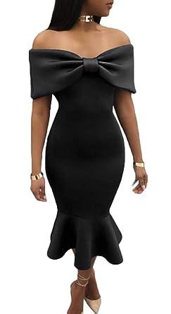 83af76fcc4 BYWX Women Short Sleeve Off Shoulder Ruffle Bodycon Cocktail Party Midi  Dress Black US XS