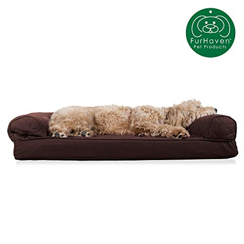 Furhaven Pet Dog Bed | Orthopedic Quilted Traditional Sofa-Style Living Room Couch Pet Bed w/Removable Cover for Dogs & Cats, Coffee, Large