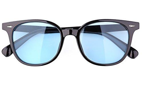 Beison Classic Wayfarer Glasses Sunglasses Tinted Lens UV400 Protection (Black frame / Blue lens, - Glasses Lenses Tinted