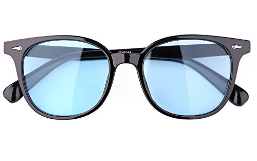 Beison Classic Wayfarer Glasses Sunglasses Tinted Lens UV400 Protection (Black frame / Blue lens, - Lenses Blue Tinted