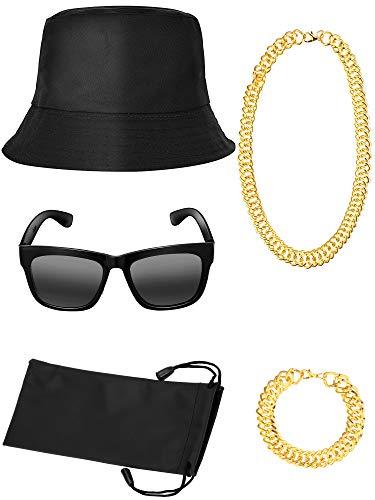 80's 90's Hip-Hop Costume Accessories, Bucket Hat, Metal Necklace, Hip-Hop Bracelet, Squared Glasses Accessories for ()