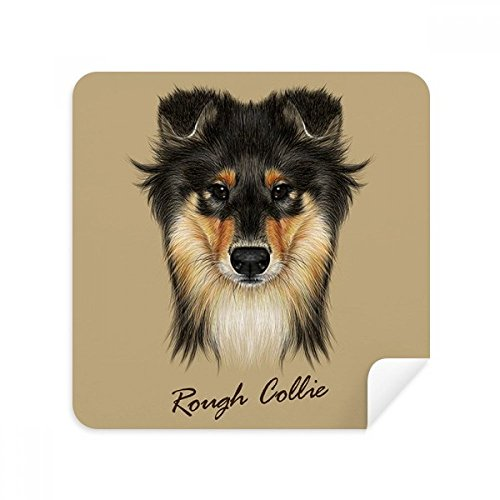 (Long-haired Rough Collie Pet Animal Glasses Cleaning Cloth Phone Screen Cleaner Suede Fabric 2pcs)