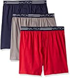 Nautica Men's Tagless Soft Cotton Knit Boxer Red/Platium Grey/Peacoat - 65232, XL