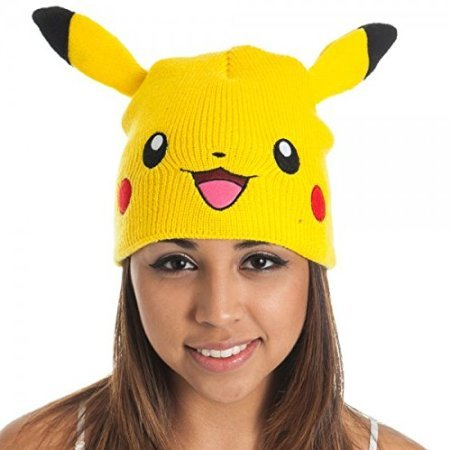 [BIOWORLD Pokemon Pikachu Big Face Fleece Cap Beanie with Ears] (Female Squirtle Costume)