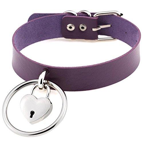 Morrenz - Sexy Harajuku Handmade Leather Choker Belt Rock Punk Goth Collar Belt O-Round Heart Lock Stud Necklace [ Purple ] ()