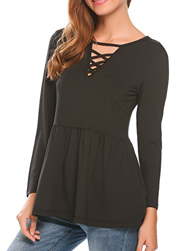 UNibelle Women's Casual Crisssross V Neck Babydoll Shirts Long Sleeve Tunic Tops ()