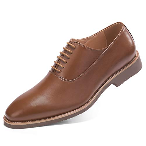 Men's Brown Dress Shoes Formal Lace Up Derby Oxford Shoes 7