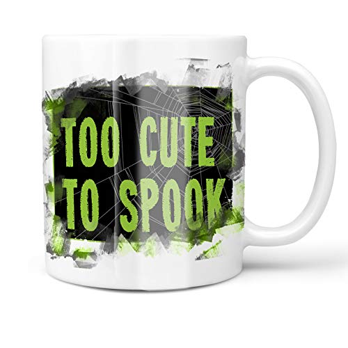 Neonblond 11oz Coffee Mug Too Cute To Spook Halloween Creepy Green Spider Web with your Custom -