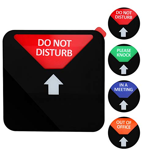Kichwit Privacy Sign, Do Not Disturb Sign, Out of Office Sign, Please Knock Sign, in a Meeting Sign, Office Sign, Conference Sign for Offices, Squared Shaped, 4.9 Inch, Black ()