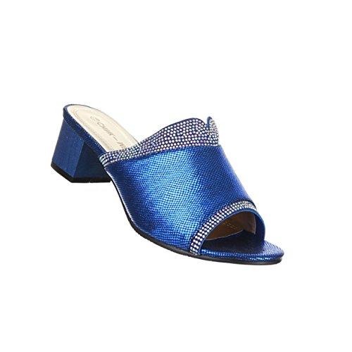 Damen Schuhe Sandalen Mit Strass Besetzte Modell Nr.1Blau