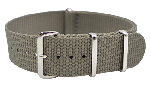 ArtStyle Watch Band with Thick and Soft Nylon Material Strap Polished Stainless Steel Buckle - Choice of Color & Width (22mm, Grey)