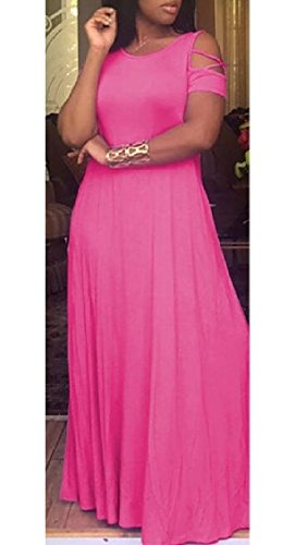 Short Long Sleeve Solid Maxi Jaycargogo Loose Dresses Casual with Pockets Pink Women qxafEwwYp