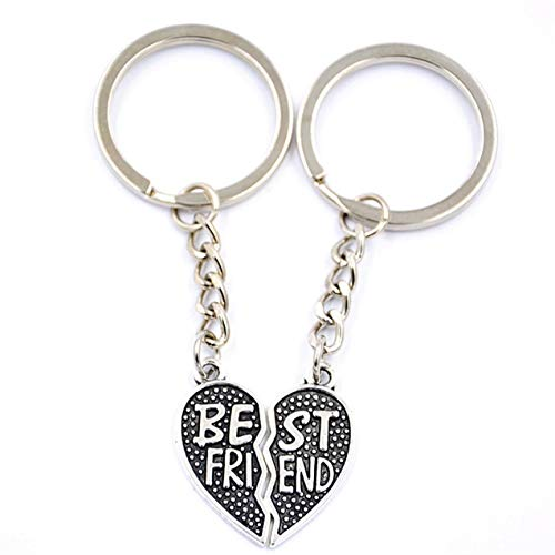 1 Set (2 Pcs/Set) Romantic Broken Heart Best Friends Forever Keychain Gift Pendant Men Keys Strap Ball Puff Key Necklace Important Popular Pocket Bag Car Keyrings ()