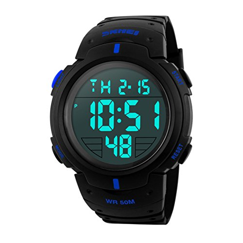 Sport watch,Electronic watches Waterproof Large dial Chronograph stopwatch Multifunction Outdoor Male student-D by FXBNHDFMF