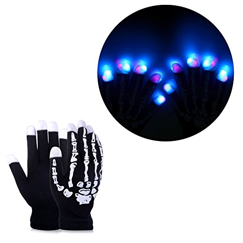 Price comparison product image Vbiger LED Gloves Party Light Show Gloves- 7 Light Flashing Modes. The Best Gloving & Lightshow Dancing Lighting Gloves for Clubbing, Rave, Birthday, Edm, Disco, and Dubstep Party (Black 2)