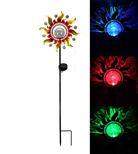 Solar Powered Led Mosaic Glass Garden Stake Lights in US - 3