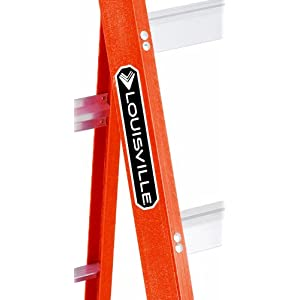 "Louisville FS1502 Fiberglass Heavy Duty Step Ladder, 28 3/8"", 2-Step, Orange"