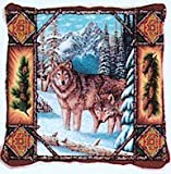 Wolf Wolves Lodge Tapestry Toss Pillow USA Made offers