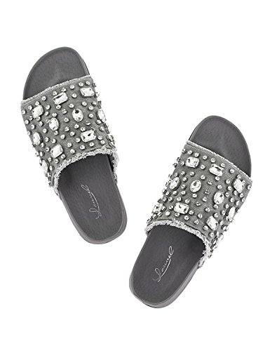 Women's Grey LOUVEL LOUVEL Slides Women's Grey Slides Grey LOUVEL Slides Women's vwwZqax
