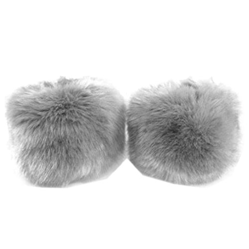 SUKEQ Women Warm Stylish Elastic Faux Rabbit Fur Cuffs Winter Gloves Arm Warmer Sleeves (Gray)
