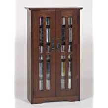 Leslie Dame M-190W Wall Mounted Mission Style Media Storage Cabinet, Walnut