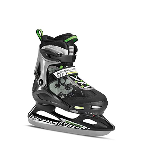 Bladerunner Kids Ice Skates, Black/Green, Size 5-8