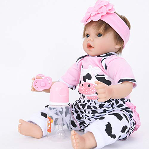 NACHEN Reborn Baby Doll Looks Really Happy 55cm Girl Vinyl Silicone Girl Birthday Dolls,color1,55cm
