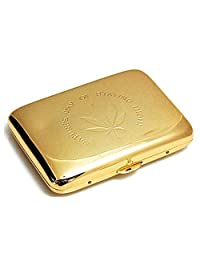Marijuana Weed Leaf Premium Stainless Steel Engraved Gold Cigarette Case