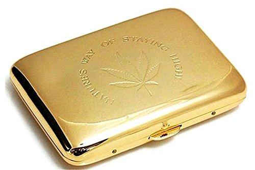Marijuana Weed Leaf Premium Stainless Steel Engraved Gold Cigarette Case (Marijuana Leaf Case)